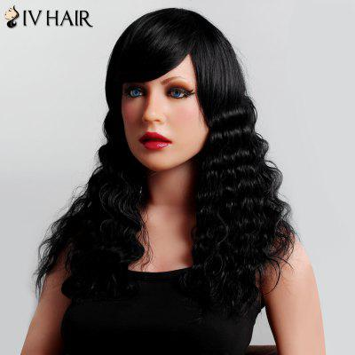Buy JET BLACK Shaggy Curly Long Siv Hair Capless Stunning Side Bang Human Hair Wig For Women for $96.24 in GearBest store
