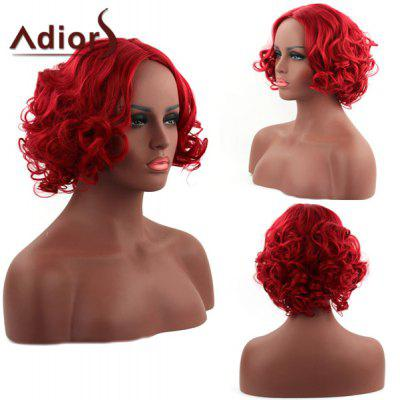 Fascinating Short Red Synthetic Fluffy Curly Centre Parting Capless Adiors Wig For Women