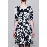 cheap Round Collar Printed Half Sleeve Dress