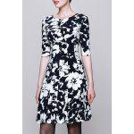 best Round Collar Printed Half Sleeve Dress