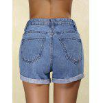 best Stylish Mid Waist Ripped Denim Cuffed Shorts For Women