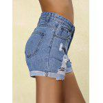 Stylish Mid Waist Ripped Denim Cuffed Shorts For Women for sale
