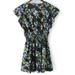 Buy Fashion Round Neck Print Waisted Mini Dress Women L BLACK