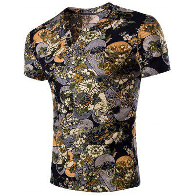 Casual V Neck Flower Printing Short Sleeves T-Shirt For Men