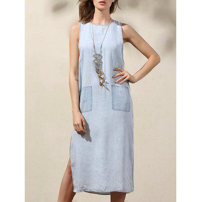 Casual Light Blue Drop Armhole Women's Denim Dress