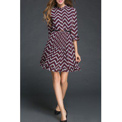 Chevron Pattern Flounced Dress