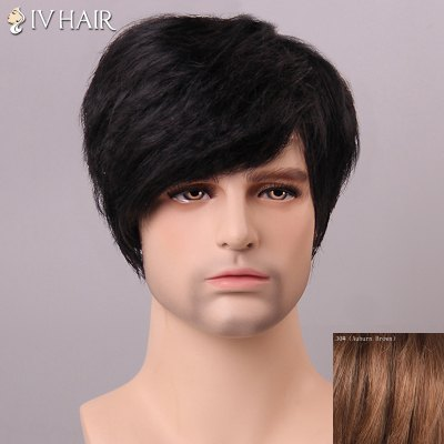 SIV HAIR Shaggy Side Bang Human Hair Wig For Men