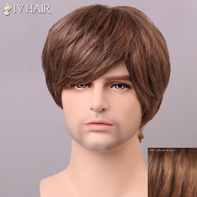 Trendy Siv Hair Straight Human Hair Men's Wig