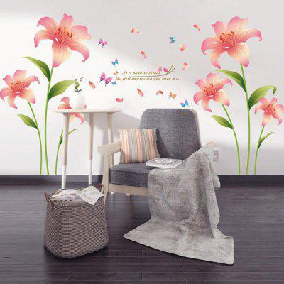 Buy Fashion Pink Lilium Pattern Wall Sticker For Livingroom Bedroom Decoration COLORMIX for $5.09 in GearBest store