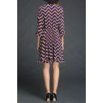 cheap Chevron Pattern Flounced Dress