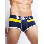 Color Block Spliced Letters Print U Pouch Design Boxer Brief For Men - SAPPHIRE BLUE