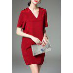 V-Neck Short Sleeve Solid Color Dress deal