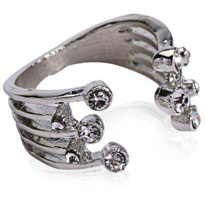 Punk Rhinestoned Cuff Ring