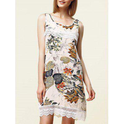 Sweet Sleeveless Lace Embellished Floral Women's Dress