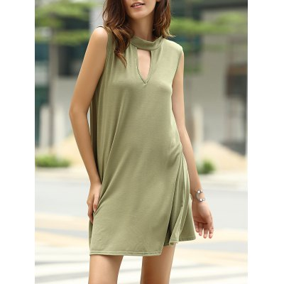 Stylish Keyhole Neckline Sleeveless Solid Color Dress For Women