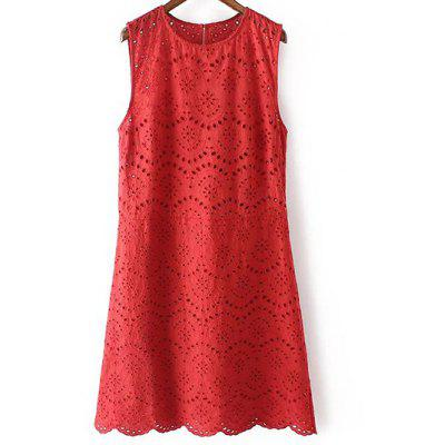 Stylish Round Neck Sleeveless Embroidery Dress For Women