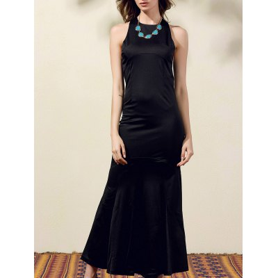 Stylish Round Neck Back Cut Out Solid Color Maxi Dress For Women