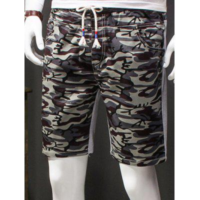 Camouflage Style Lace-Up Slimming Elastic Shorts For Men