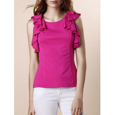 Ruffles Sleeveless Red T Shirt