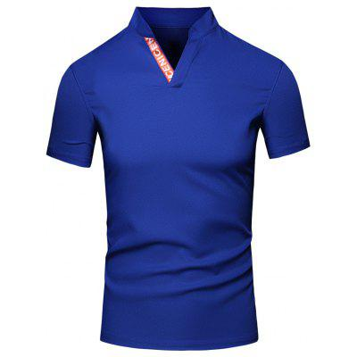 Buy Fashion Men's Turn-Down Collar Letter Print Short Sleeve Polo T-Shirt, BLUE, L, Apparel, Men's Clothing, Men's T-shirts, Men's Short Sleeve Tees for $11.82 in GearBest store