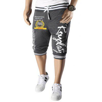 Vogue Beam Feet Letters Pattern Rib Spliced Lace-Up Capri Pants Jogger Shorts For Men