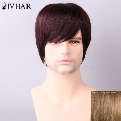 Siv Hair Men's Straight Side Bang Human Hair Wig