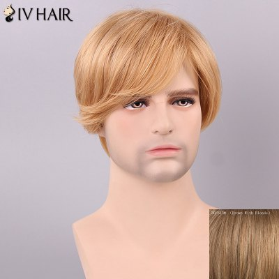 Siv Hair Men's Side Bang Human Hair Wig