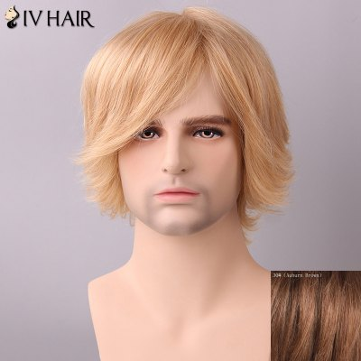 Siv Hair Men's Fluffy Side Bang Human Hair Wig