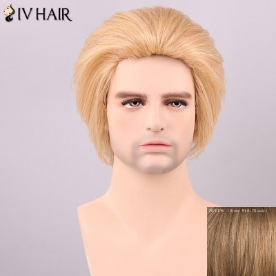 Siv Hair Men's Fluffy Straight Human Hair Wig