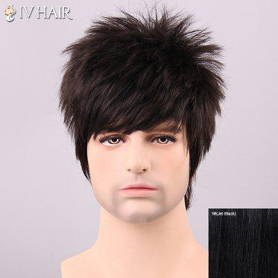 Siv Hair Men's Fluffy Full Bang Human Hair Wig
