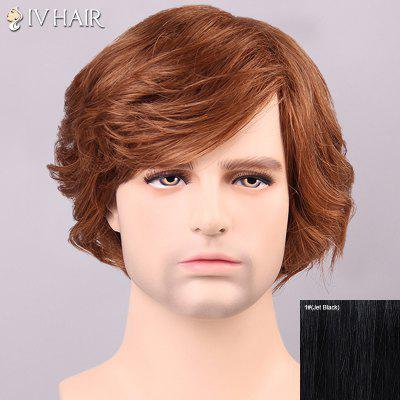 Siv Hair Shaggy Curly Inclined Bang Human Hair Men's Wig