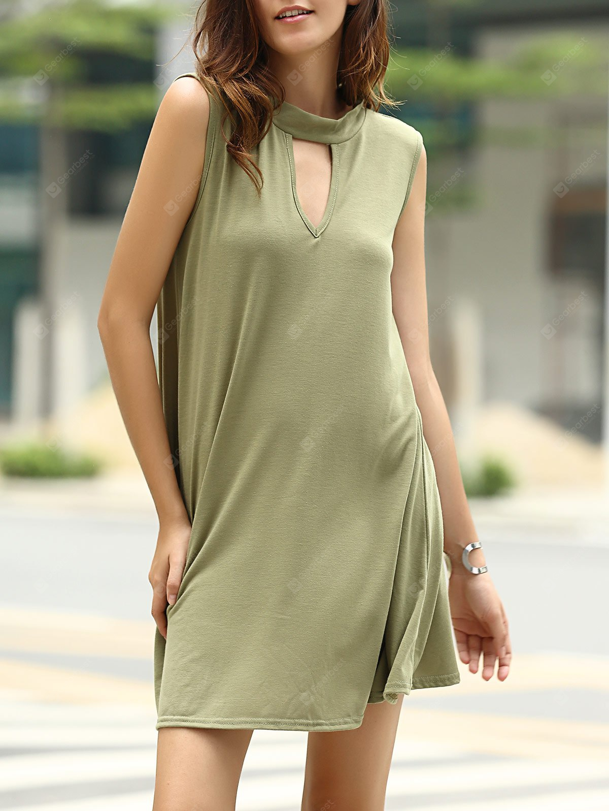 Stylish Keyhole Neckline Sleeveless Solid Color Dress Women ARMY GREEN