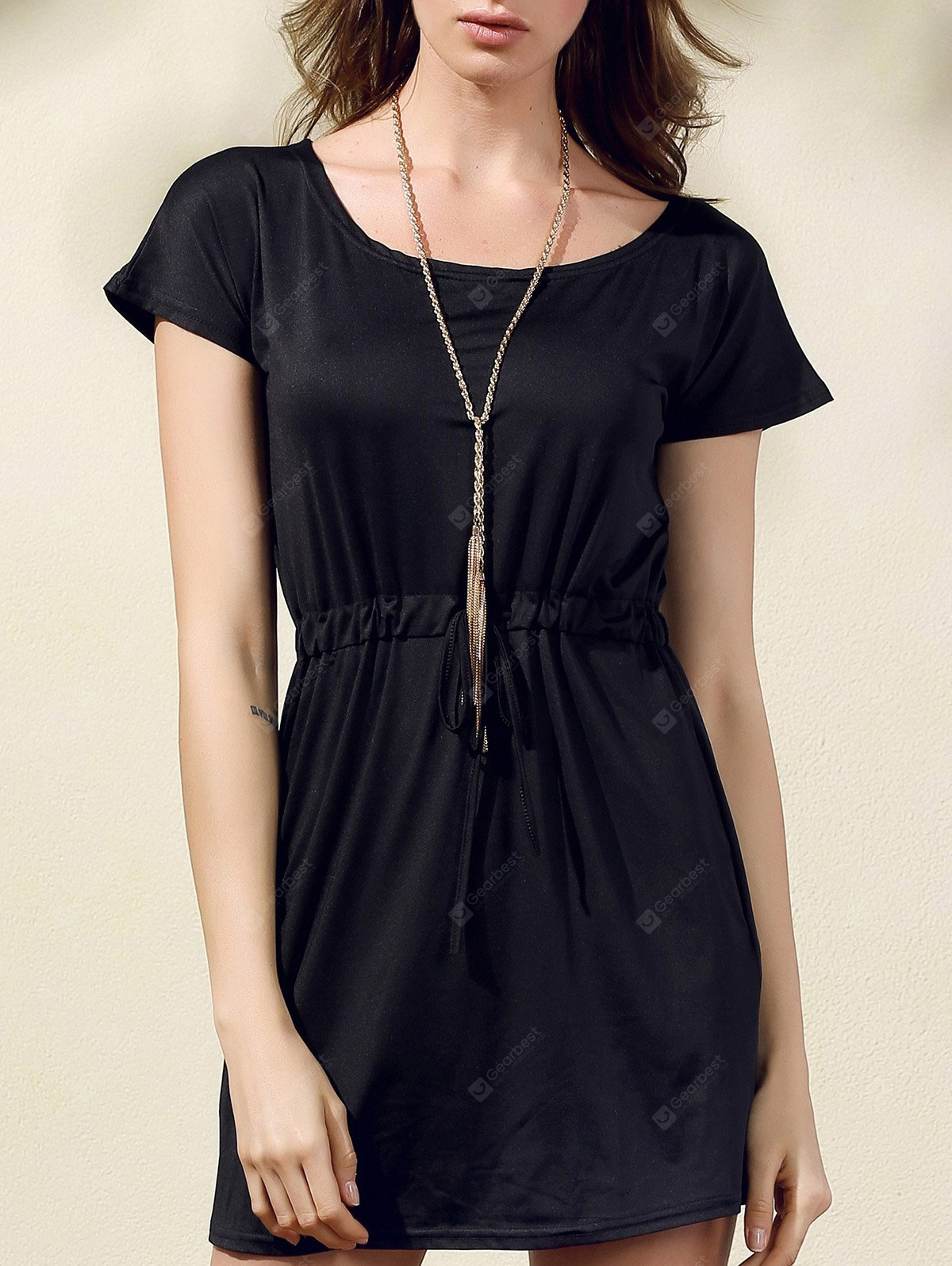Stylish Scoop Neck Short Sleeve Drawstring Dress For Women