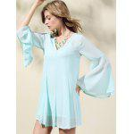 Trendy V-Neck Flare Sleeve Solid Color Dress For Women deal
