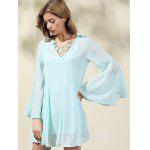 cheap Trendy V-Neck Flare Sleeve Solid Color Dress For Women
