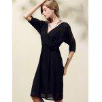 Trendy V-Neck Half Sleeve Cut Out Waisted Dress For Women - BLACK