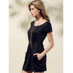 Stylish Scoop Neck Short Sleeve Drawstring Dress For Women - BLACK