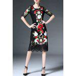 Half Sleeve Floral Embroidery Lace Dress for sale