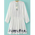 cheap Stylish Plunging Neck Flare Sleeve Embroidery Women's Dress