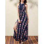 Stylish Jewel Neck Sleeveless Floral Print High Slit Women's Dress
