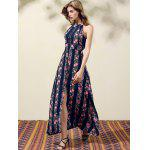 cheap Stylish Jewel Neck Sleeveless Floral Print High Slit Women's Dress