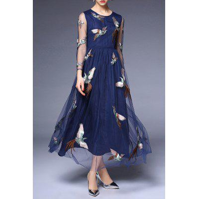 Round Collar Voile Embroidery Dress