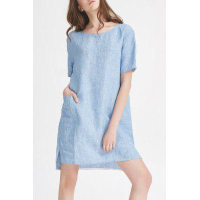 Front Pocket Linen Mini Dress