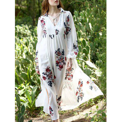 Vintage Deep V Neck Long Sleeve Floral Print Women's Chiffon Kaftan Dress