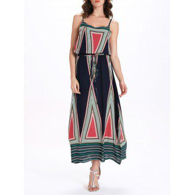 Stylish Spaghetti Strap Geometric Print Women's Dress