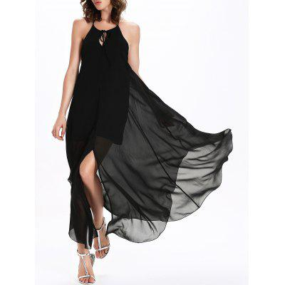 Backless Floor Length Chiffon Slip Swing Dress