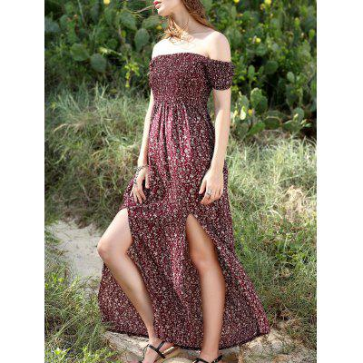 Buy WINE RED Off The Shoulder Short Sleeve High Slit Maxi Dress for $17.54 in GearBest store