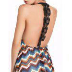 Maxi Backless Chiffon Zig Zag Flowy Dress - MULTICOLORE