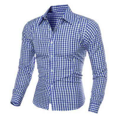 Casual Turn-Down Collar Slimming Long Sleeve Checked Shirt For Men