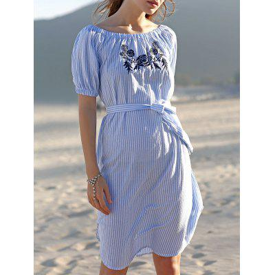 Embroidered Striped Midi Dress